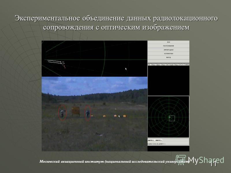 Московский авиационный институт (национальный исследовательский университет) Экспериментальное объединение данных радиолокационного сопровождения с оптическим изображением 11
