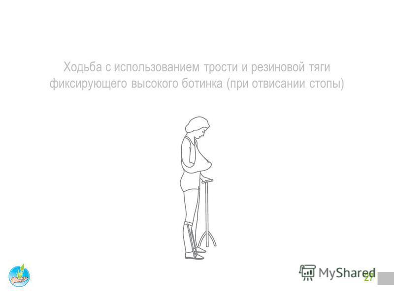 26 ОБУЧЕНИЕ ХОДЬБЕ Этапы: Имитация ходьбы лежа, сидя, стоя. Ходьба с четырехопорной тростью и с поддержкой методиста. Ходьба с четырехопорной тростью или палкой без поддержки. Ходьба по коридору. Ходьба по лестнице. Ходьба по улице.