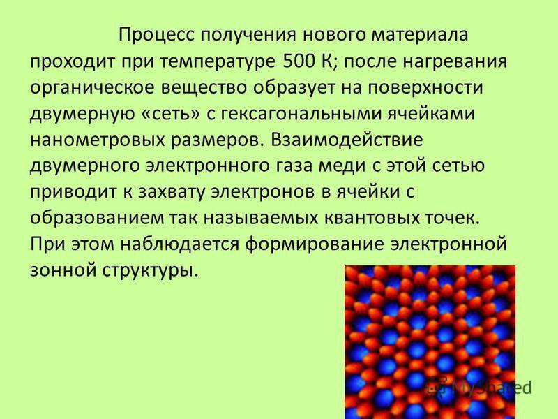 Процесс получения нового материала проходит при температуре 500 К; после нагревания органическое вещество образует на поверхности двумерную «сеть» с гексагональными ячейками нанометровых размеров. Взаимодействие двумерного электронного газа меди с эт