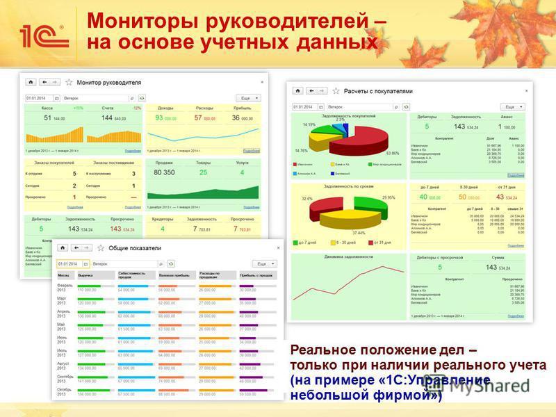 Мониторы руководителей – на основе учетных данных Реальное положение дел – только при наличии реального учета (на примере «1С:Управление небольшой фирмой»)