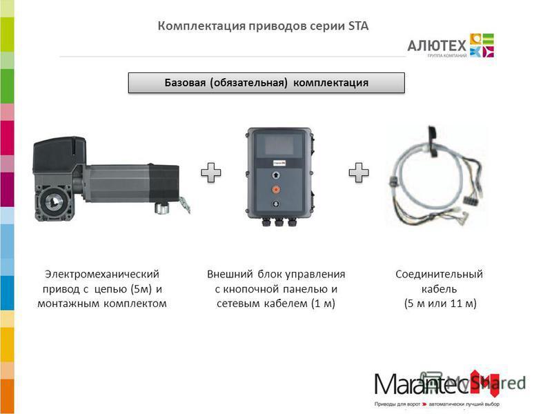 Электромеханический привод с цепью (5 м) и монтажным комплектом Внешний блок управления с кнопочной панелью и сетевым кабелем (1 м) Соединительный кабель (5 м или 11 м) Базовая (обязательная) комплектация Комплектация приводов серии STA