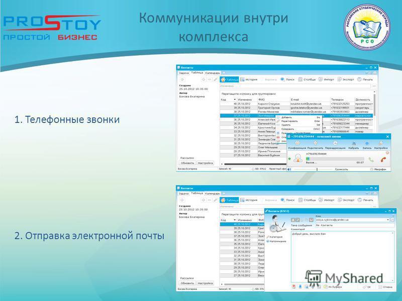 Коммуникации внутри комплекса 2. Отправка электронной почты 1. Телефонные звонки
