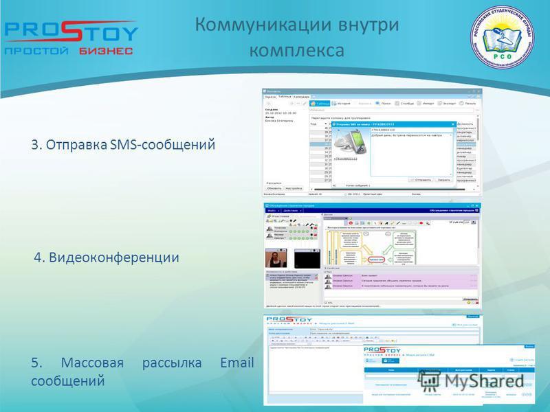 Коммуникации внутри комплекса 4. Видеоконференции 5. Массовая рассылка Email сообщений 3. Отправка SMS-сообщений