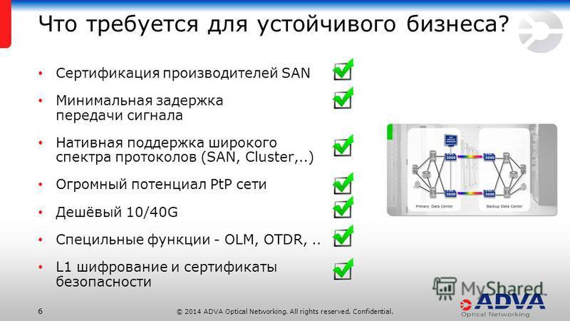 © 2014 ADVA Optical Networking. All rights reserved. Confidential. 66 Сертификация производителей SAN Минимальная задержка передачи сигнала Нативная поддержка широкого спектра протоколов (SAN, Cluster,..) Огромный потенциал PtP сети Дешёвый 10/40G Сп