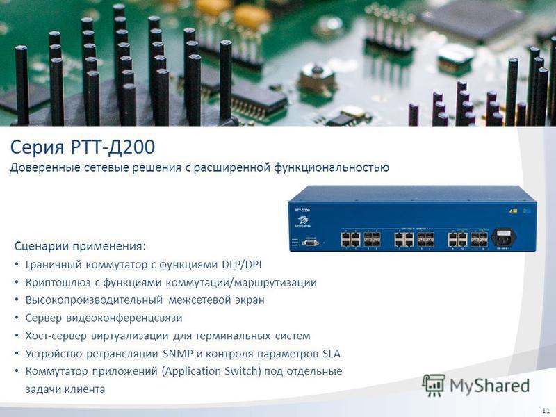 11 Серия РТТ-Д200 Доверенные сетевые решения с расширенной функциональностью Сценарии применения: Граничный коммутатор с функциями DLP/DPI Криптошлюз с функциями коммутации/маршрутизации Высокопроизводительный межсетевой экран Сервер видеоконференцсв