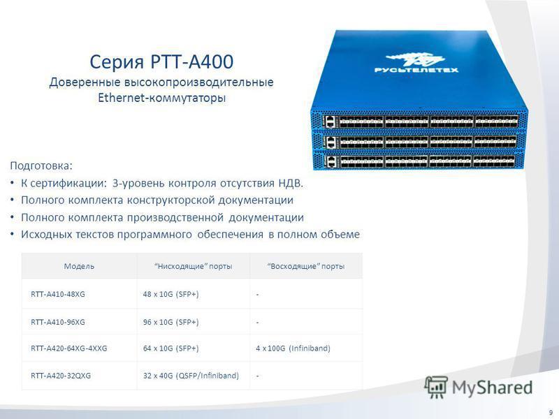 9 Серия РТТ-А400 Доверенные высокопроизводительные Ethernet-коммутаторы Модель Нисходящие порты Восходящие порты RTT-A410-48XG48 x 10G (SFP+)- RTT-A410-96XG96 x 10G (SFP+)- RTT-A420-64XG-4XXG64 x 10G (SFP+)4 x 100G (Infiniband) RTT-A420-32QXG32 x 40G