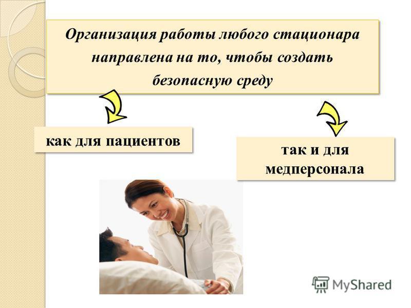 Организация работы любого стационара направлена на то, чтобы создать безопасную среду как для пациентов так и для медперсонала