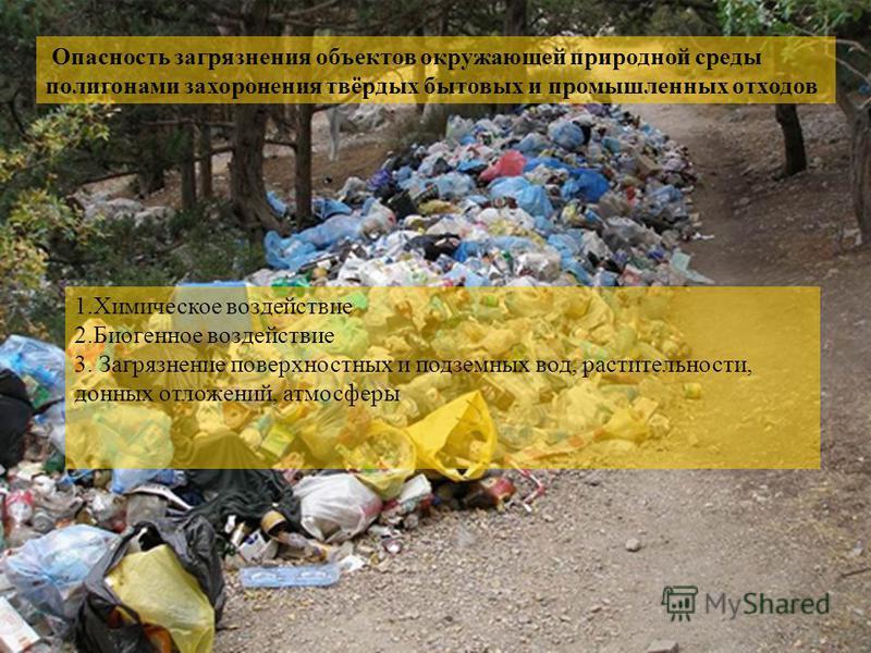 Опасность загрязнения объектов окружающей природной среды полигонами захоронения твёрдых бытовых и промышленных отходов 1. Химическое воздействие 2. Биогенное воздействие 3. Загрязнение поверхностных и подземных вод, растительности, донных отложений,