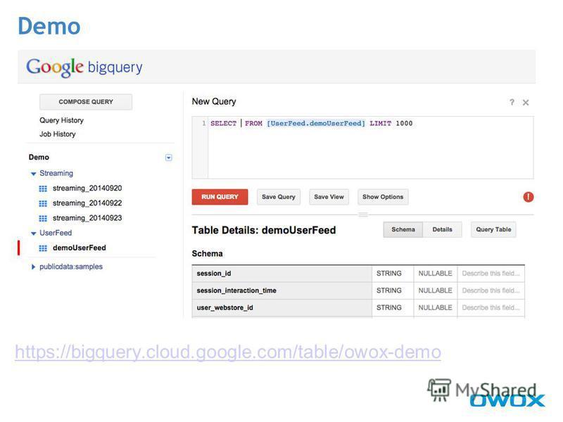 https://bigquery.cloud.google.com/table/owox-demo Demo