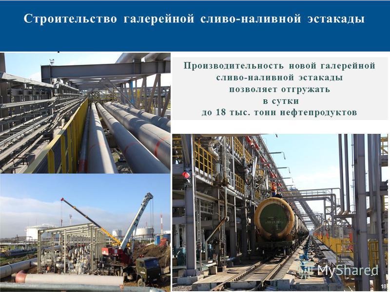 18 Строительство галерейной сливо-наливной эстакады 18 Производительность новой галерейной сливо-наливной эстакады позволяет отгружать в сутки до 18 тыс. тонн нефтепродуктов