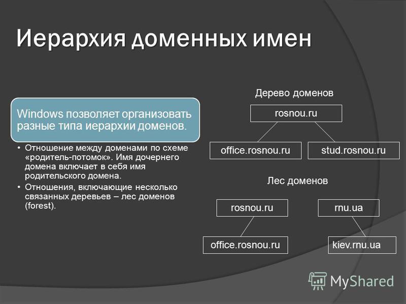 Иерархия доменных имен Windows позволяет организовать разные типа иерархии доменов. Отношение между доменами по схеме «родитель-потомок». Имя дочернего домена включает в себя имя родительского домена. Отношения, включающие несколько связанных деревье