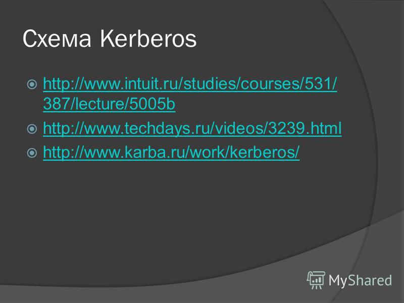 Схема Kerberos http://www.intuit.ru/studies/courses/531/ 387/lecture/5005b http://www.intuit.ru/studies/courses/531/ 387/lecture/5005b http://www.techdays.ru/videos/3239. html http://www.karba.ru/work/kerberos/