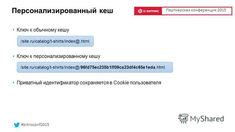 /site.ru/catalog/t-shirts/index@/96fd75ec235b1ff09ca23df4c65e1eda.html Персонализированный кеш Ключ к обычному кешу Ключ к персонализированному кешу Приватный идентификатор сохраняется в Cookie пользователя Партнерская конференция 2015 /site.ru/catal