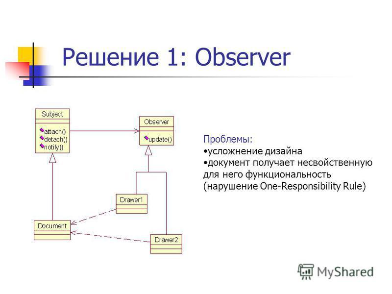 Решение 1: Observer Проблемы: усложнение дизайна документ получает несвойственную для него функциональность (нарушение One-Responsibility Rule)