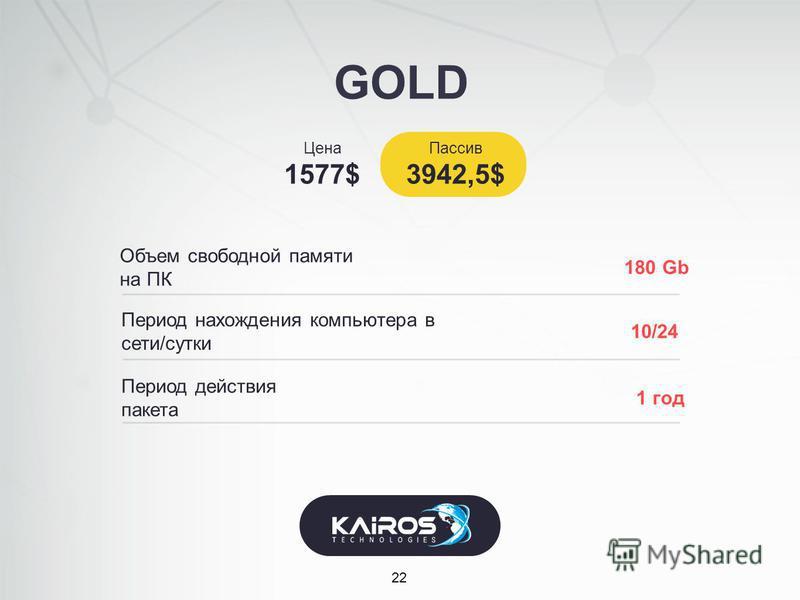 GOLD 22 Объем свободной памяти на ПК Цена 1577$ 180 Gb Период нахождения компьютера в сети/сутки 10/24 Период действия пакета 1 год Пассив 3942,5$