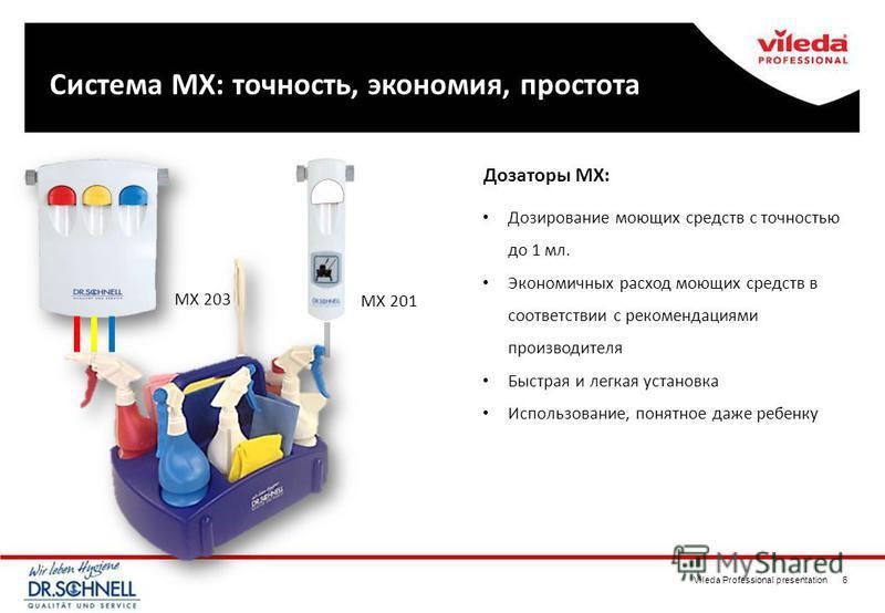 Vileda Professional presentation 6 Система MX: Система MX: точность, экономия, простота Дозирование моющих средств с точностью до 1 мл. Экономичных расход моющих средств в соответствии с рекомендациями производителя Быстрая и легкая установка Использ
