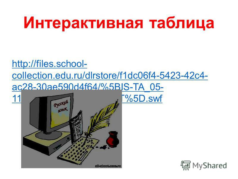 Интерактивная таблица http://files.school- collection.edu.ru/dlrstore/f1dc06f4-5423-42c4- ac28-30ae590d4f64/%5BIS-TA_05- 11_05%5D_%5BIA_01-AT%5D.swf