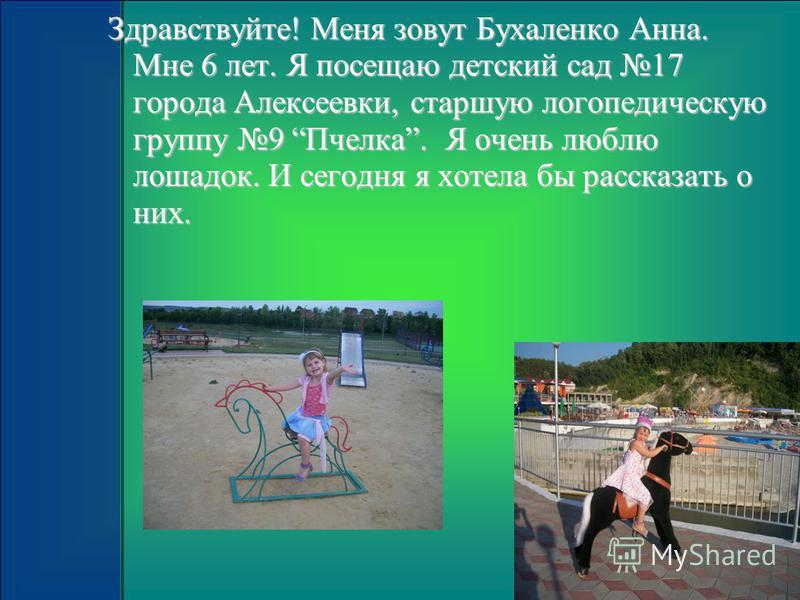 Здравствуйте! Меня зовут Бухаленко Анна. Мне 6 лет. Я посещаю детский сад 17 города Алексеевки, старшую логопедическую группу 9 Пчелка. Я очень люблю лошадок. И сегодня я хотела бы рассказать о них.