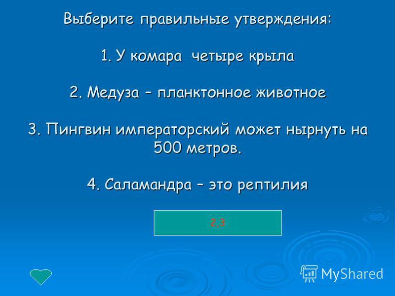 Выберите правильные утверждения: 1. У комара четыре крыла 2. Медуза – планктонное животное 3. Пингвин императорский может нырнуть на 500 метров. 4. Саламандра – это рептилия 2,3