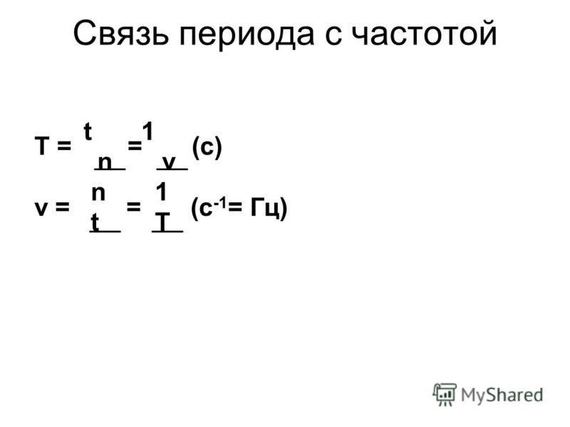Связь периода с частотой t 1 T = = (с) n ν n 1 ν = = (с -1 = Гц) t T