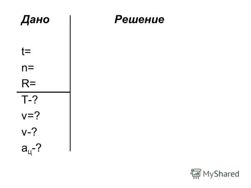 Дано Решение t= n= R= T-? ν=? v-? а ц -?