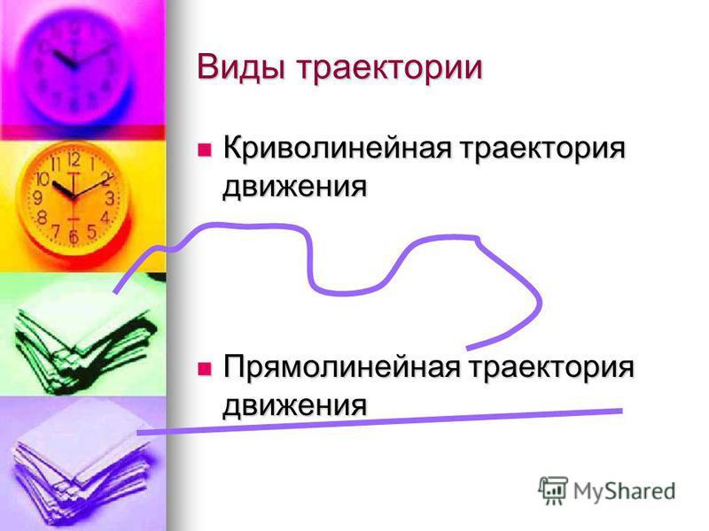 Виды траектории Криволинейная траектория движения Криволинейная траектория движения Прямолинейная траектория движения Прямолинейная траектория движения