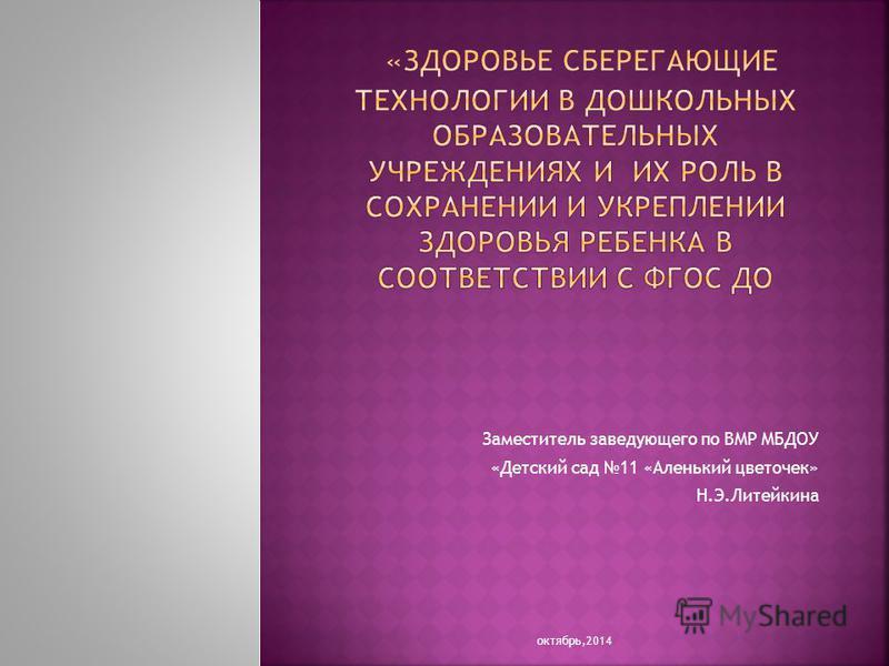 Заместитель заведующего по ВМР МБДОУ «Детский сад 11 «Аленький цветочек» Н.Э.Литейкина октябрь,2014