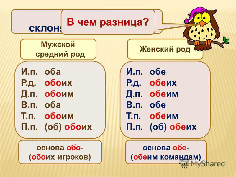 И.п.оба Р.д.обоих Д.п.обоим В.п.оба Т.п.обоим П.п.(об) обоих основа обо- (обоих игроков) И.п.обе Р.д.обеих Д.п.обеим В.п.обе Т.п.обеим П.п.(об) обеих основа обе- (обеим командам) Мужской средний род Женский род Оба и обе склоняются по-разному В чем р