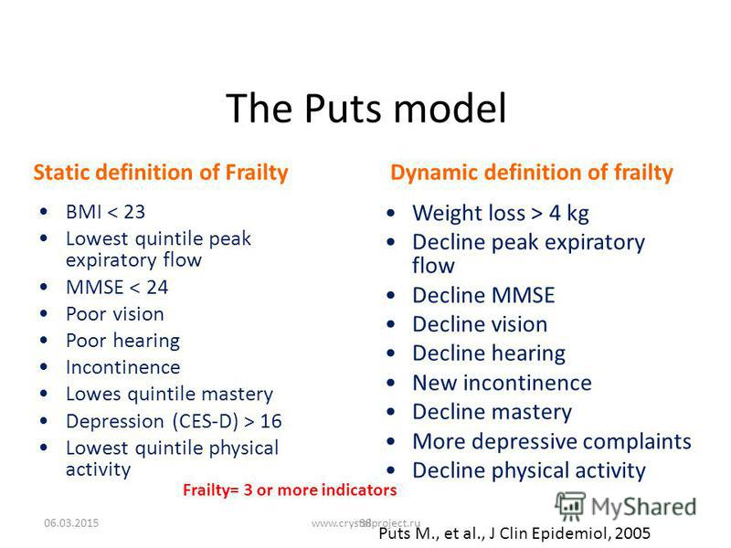 The Puts model Static definition of FrailtyDynamic definition of frailty BMI < 23 Lowest quintile peak expiratory flow MMSE < 24 Poor vision Poor hearing Incontinence Lowes quintile mastery Depression (CES-D) > 16 Lowest quintile physical activity We