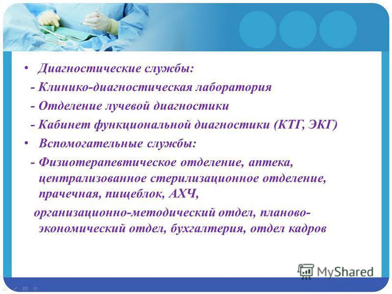 Диагностические службы: - Клинико-диагностическая лаборатория - Отделение лучевой диагностики - Кабинет функциональной диагностики (КТГ, ЭКГ) Вспомогательные службы: - Физиотерапевтическое отделение, аптека, централизованное стерилизационное отделени