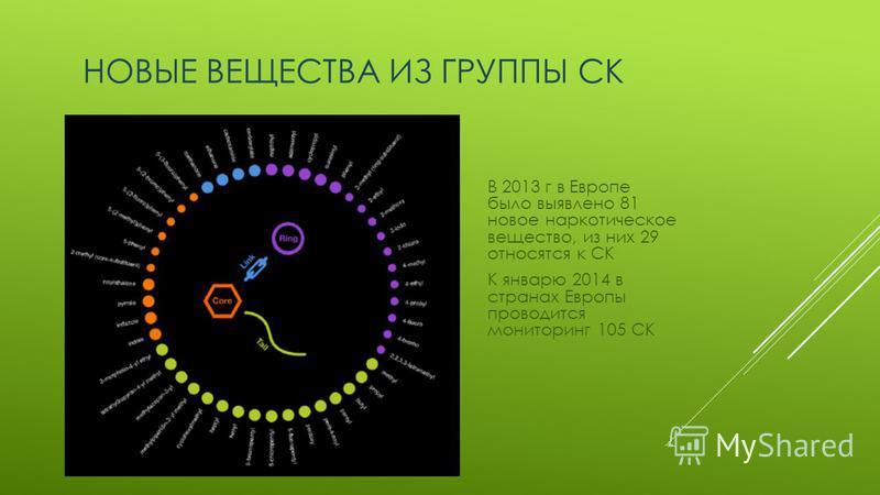 НОВЫЕ ВЕЩЕСТВА ИЗ ГРУППЫ СК В 2013 г в Европе было выявлено 81 новое наркотическое вещество, из них 29 относятся к СК К январю 2014 в странах Европы проводится мониторинг 105 СК