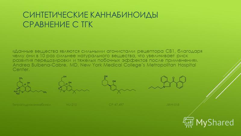СИНТЕТИЧЕСКИЕ КАННАБИНОИДЫ СРАВНЕНИЕ С ТГК «Данные вещества являются сильными агонистами рецептора CB1, благодаря чему они в 10 раз сильнее натурального вещества, что увеличивает риск развития передозировки и тяжелых побочных эффектов после применени