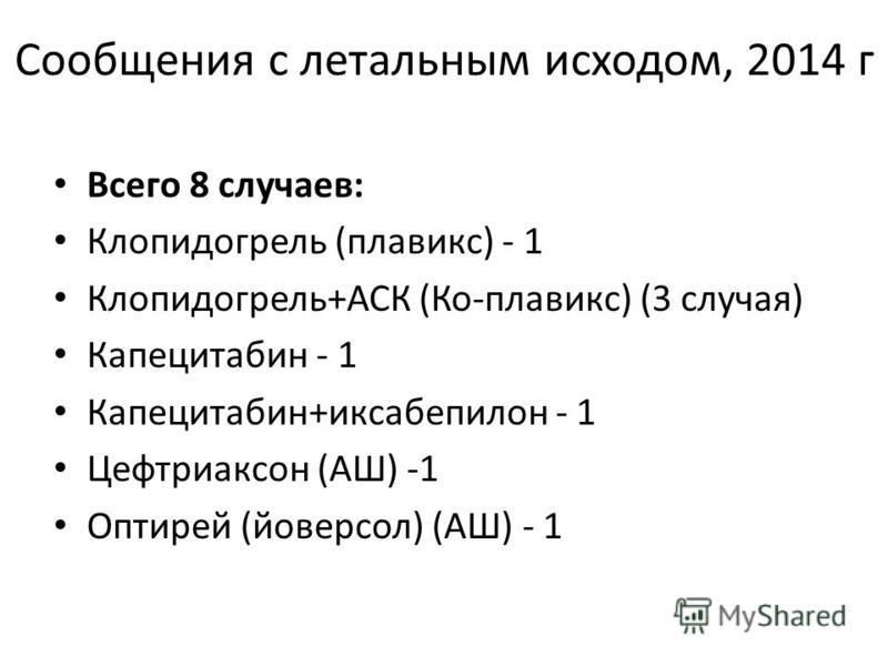 Сообщения с летальным исходом, 2014 г Всего 8 случаев: Клопидогрель (плавикс) - 1 Клопидогрель+АСК (Ко-плавикс) (3 случая) Капецитабин - 1 Капецитабин+иксабепилон - 1 Цефтриаксон (АШ) -1 Оптирей (йоверсол) (АШ) - 1