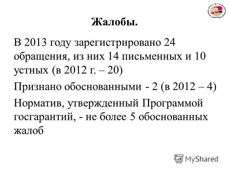 Жалобы. В 2013 году зарегистрировано 24 обращения, из них 14 письменных и 10 устных (в 2012 г. – 20) Признано обоснованными - 2 (в 2012 – 4) Норматив, утвержденный Программой госгарантий, - не более 5 обоснованных жалоб