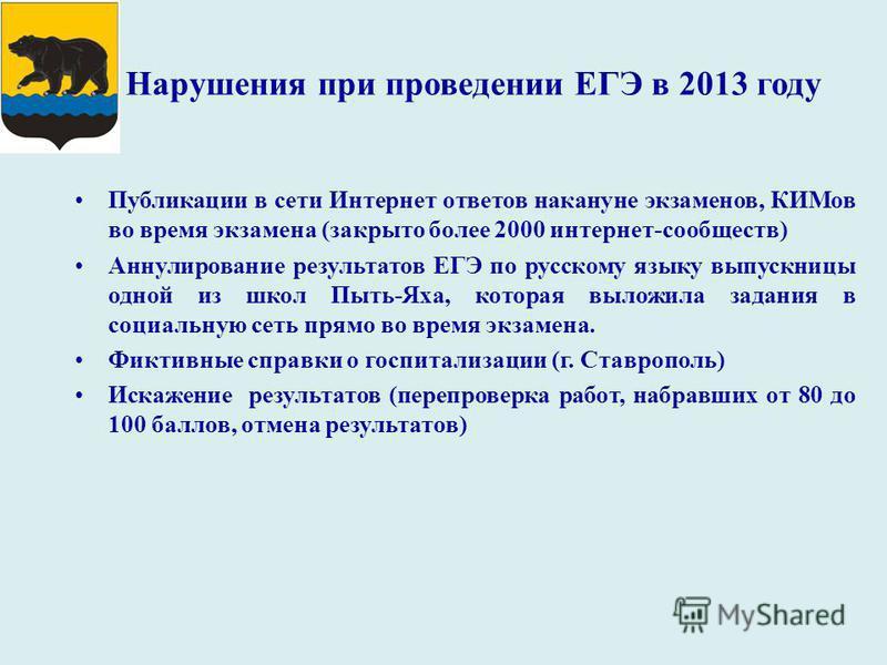 Нарушения при проведении ЕГЭ в 2013 году Публикации в сети Интернет ответов накануне экзаменов, КИМов во время экзамена (закрыто более 2000 интернет-сообществ) Аннулирование результатов ЕГЭ по русскому языку выпускницы одной из школ Пыть-Яха, которая