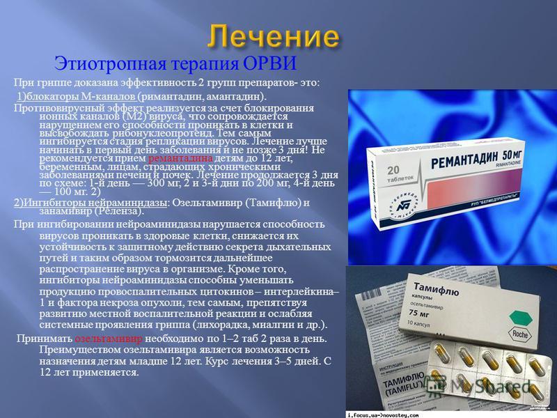 Этиотропная терапия ОРВИ При гриппе доказана эффективность 2 групп препаратов - это : 1) блокаторы М - каналов ( римантадин, амантадин ). Противовирусный эффект реализуется за счет блокирования ионных каналов ( М 2) вируса, что сопровождается нарушен