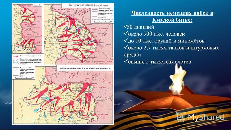 Численность немецких войск в Курской битве: 50 дивизий около 900 тыс. человек до 10 тыс. орудий и миномётов около 2,7 тысяч танков и штурмовых орудий свыше 2 тысяч самолётов