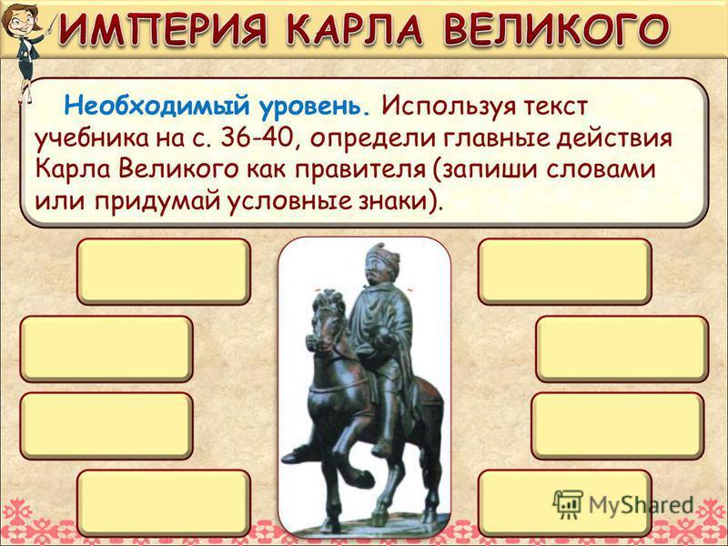 Необходимый уровень. Используя текст учебника на с. 36-40, определи главные действия Карла Великого как правителя (запиши словами или придумай условные знаки).