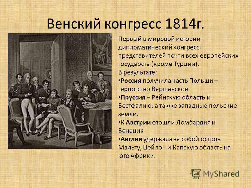 Венский конгресс 1814 г. Первый в мировой истории дипломатический конгресс представителей почти всех европейских государств (кроме Турции). В результате: Россия получила часть Польши – герцогство Варшавское. Пруссия – Рейнскую область и Вестфалию, а