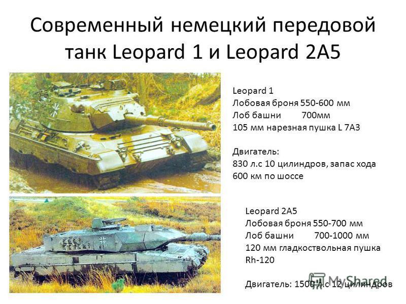Современный немецкий передовой танк Leopard 1 и Leopard 2A5 Leopard 1 Лобовая броня 550-600 мм Лоб башни 700 мм 105 мм нарезная пушка L 7A3 Двигатель: 830 л.с 10 цилиндров, запас хода 600 км по шоссе Leopard 2A5 Лобовая броня 550-700 мм Лоб башни 700