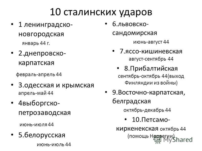 10 сталинских ударов 1 ленинградско- новгородская январь 44 г. 2.днепроваско- карпатская февраль-апрель 44 3. одесская и крымская апрель-май 44 4 выборгско- петрозаводская июнь-июля 44 5. белорусская июнь-июль 44 6.львоваско- сандомирусская июнь-авгу
