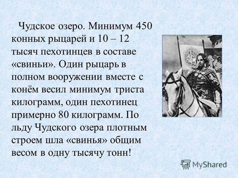 Перед началом боя, немцы должны были учесть, что Александр умён и хитёр.Но они знали, что новгородцы уступают им в техническом оснащении (слабее вооружены, слабее защищены доспехами).Плотный строй тяжёлой конницы (знаменитая «свинья») был маневренным