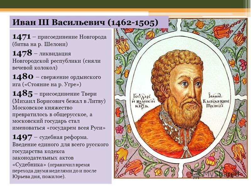 1471 – присоединение Новгорода (битва на р. Шелони) 1478 – ликвидация Новгородской республики (сняли вечевой колокол) 1480 – свержение ордынского ига («Стояние на р. Угре») 1485 – присоединение Твери (Михаил Борисович бежал в Литву) Московское княжес