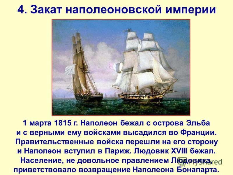 4. Закат наполеоновской империи 1 марта 1815 г. Наполеон бежал с острова Эльба и с верными ему войсками высадился во Франции. Правительственные войска перешли на его сторону и Наполеон вступил в Париж. Людовик XVIII бежал. Население, не довольное пра