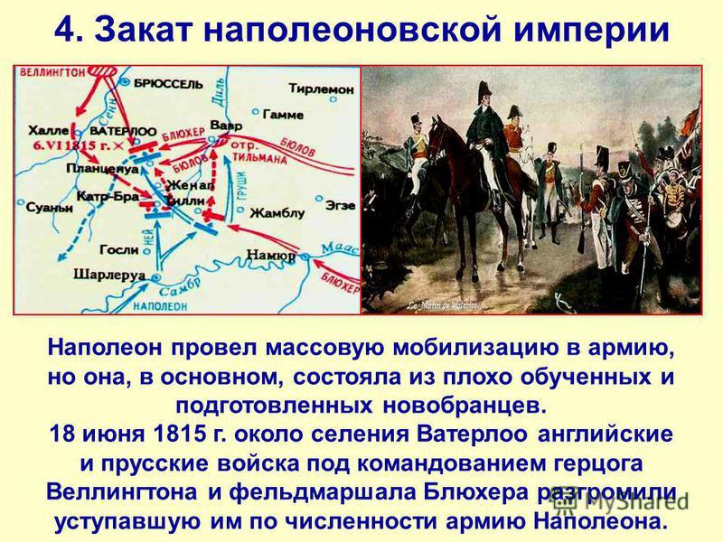 4. Закат наполеоновской империи Наполеон провел массовую мобилизацию в армию, но она, в основном, состояла из плохо обученных и подготовленных новобранцев. 18 июня 1815 г. около селения Ватерлоо английские и прусские войска под командованием герцога