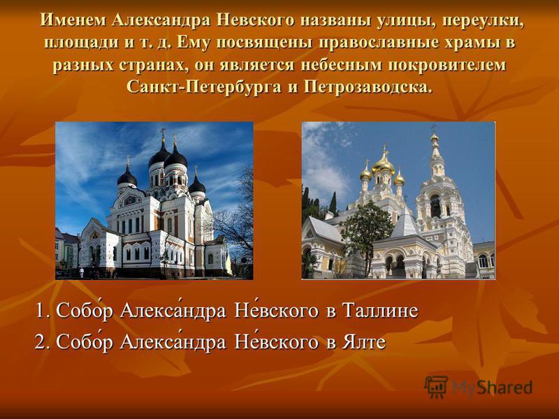 Именем Александра Невсякого названы улицы, переулки, площади и т. д. Ему посвящены православные храмы в разных странах, он является небесным покровителем Санкт-Петербурга и Петрозаводска. Именем Александра Невсякого названы улицы, переулки, площади и