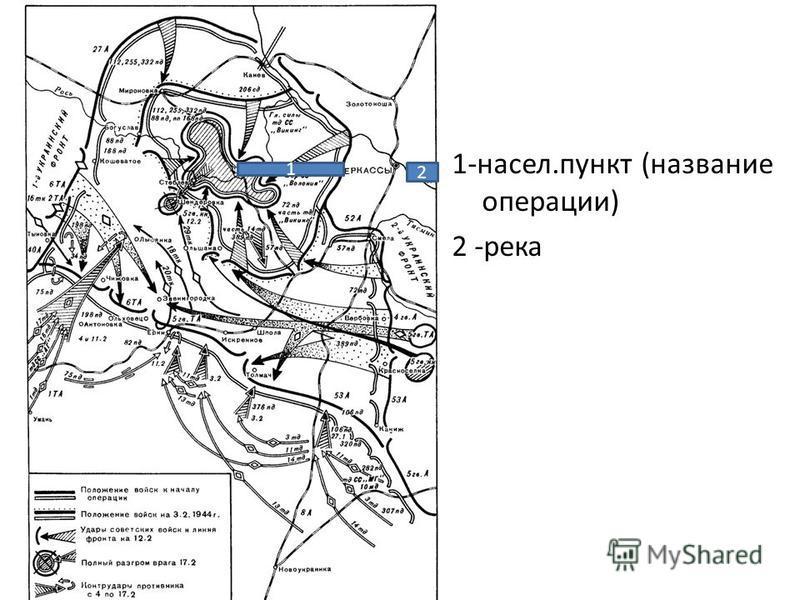 1-насел.пункт (название операции) 2 -река 1 2