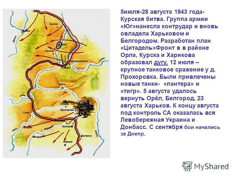 5 июля-28 августа 1943 года- Курская битва. Группа армии «Юг»нанесла контрудар и вновь овладела Харьковом и Белгородом. Разработан план «Цитадель»Фронт в в районе Орла, Курска и Харикова образовал дугу. 12 июля – крупное танковое сражение у д. Прохор
