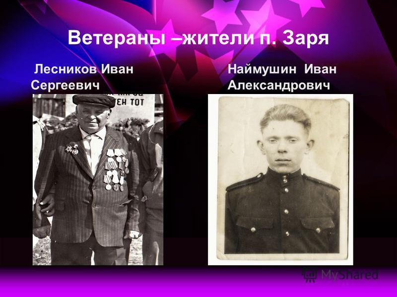 Ветераны –жители п. Заря Лесников Иван Сергеевич Наймушин Иван Александрович