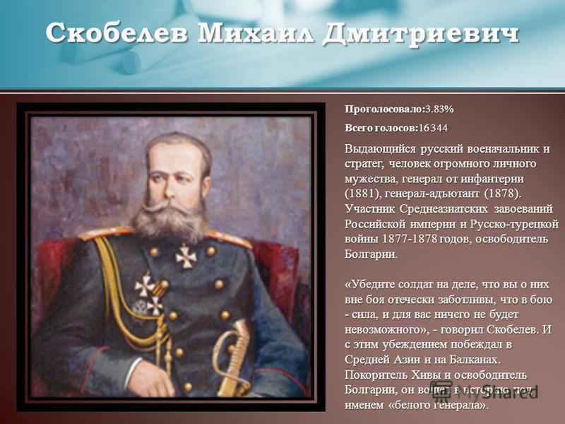 Проголосовало:3.83% Всего голосов:16 344 Выдающийся русский военачальник и стратег, человек огромного личного мужества, генерал от инфантерии (1881), генерал-адъютант (1878). Участник Среднеазиатских завоеваний Российской империи и Русско-турецкой во
